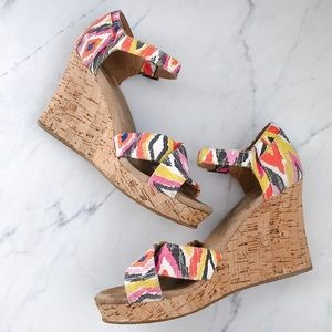 Toms Multi color wedge sandals size 9